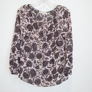 Loft Floral Print Scoop Neck Long Sleeve Blouse